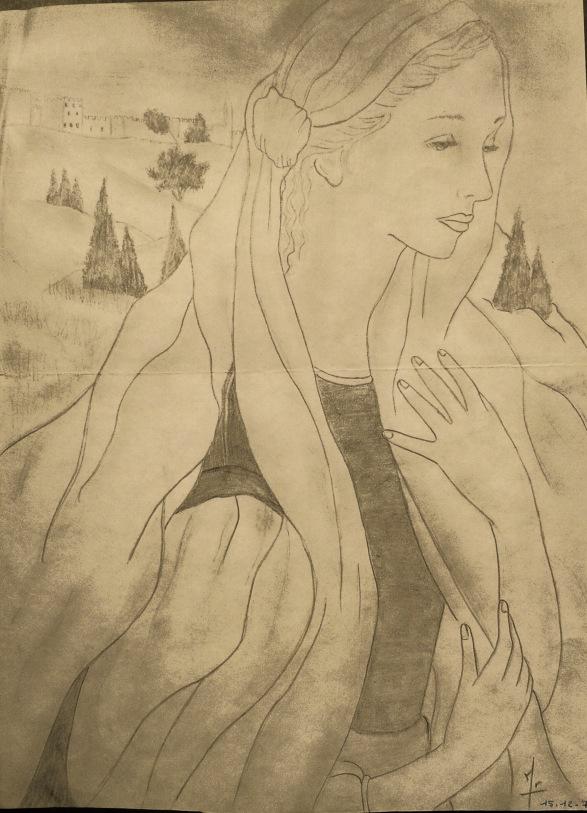 Irène Mids - Dessin 1980 - crayon de Papier